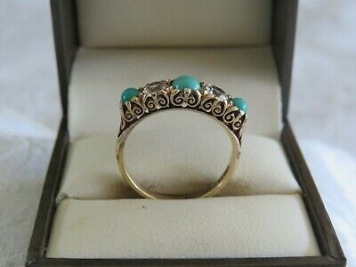 £159.99 • Buy VINTAGE 1960s 9 CARAT GOLD TURQUOISE CABACHON BOAT RING FANCY SCHROLL SETTING
