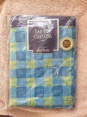 "£2.80 • Buy Tab Top Curtains. Blue/green  - 66"" X 72"" (RRP £37.50)"