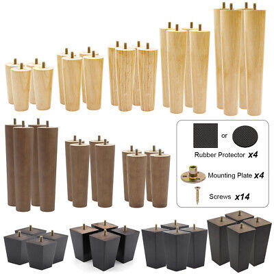 £12.99 • Buy 4 Wood Furniture Legs Sofa Couch Chair Table Cupboard Closet Cabinet Bench Feet