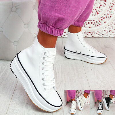 $ CDN28.97 • Buy Womens Ladies Canvas Flatform Trainers High Top Lace Up Platform Shoes Size