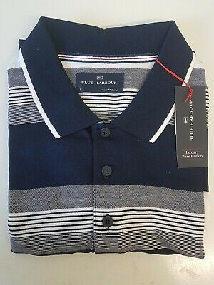£14.95 • Buy Marks And Spencer Blue Harbour Large Blue Mix Regular Fit 100% Cotton Polo Shirt