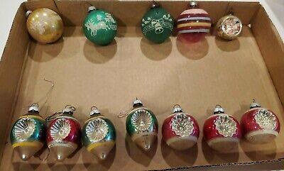 $ CDN48.34 • Buy Lot Of 12 Vintage Christmas Ornaments Shiny Brite Indents Teardrop Green  Pink