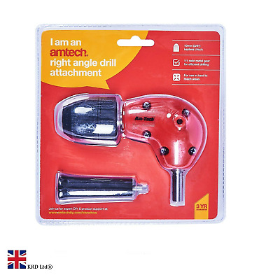 £9.99 • Buy 3/8  Right Angle Drill Attachment With Keyless Chuck Tool DIY Accessory F3045