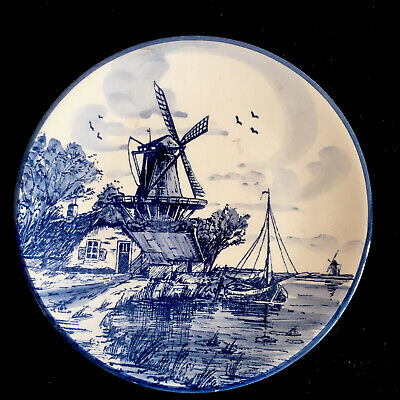 £15 • Buy Delft Holland Blue / White Windmill Boat Waterscape Hand Painted Art Wall Plaque
