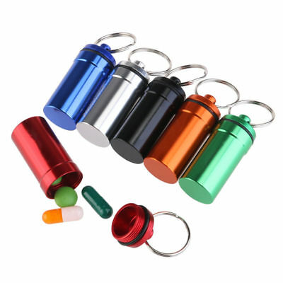 $8.75 • Buy 6X Waterproof Small Aluminum Pill Box Case Bottle Drug Holder Keychain Container