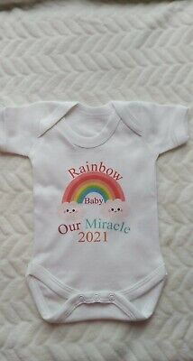 £5.99 • Buy Pregnancy Baby Vest Rainbow Baby Our Miracle 2021/2022