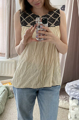 £3.90 • Buy Zara Maternity Pretty Top Size M Cream With Black Lace Detail And Buttons