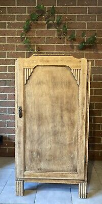 AU60 • Buy Vintage Timber Deco Cabinet CUPBOARD Kitchen Bedroom Shelves Lockable