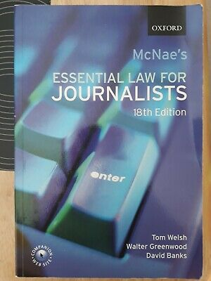 £10 • Buy McNae's Essential Law For Journalists - 18th Edition