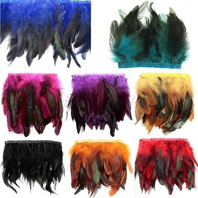 £5.45 • Buy Rooster Hackle Coque Feather Fringe Craft Trim Sewing Costume Millinery Party UK