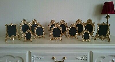 £249 • Buy Collection Of 10 Antique Solid Brass Rococo Style Photo Frames