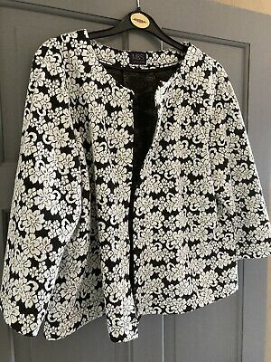 £8 • Buy M&S Collection Black And Ivory Soft Jacket Three Quarter Sleeves Size 14
