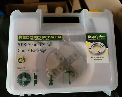 £105 • Buy Record Power SC3 Scroll Chuck Package + 2  Faceplate Ring 1  X 10 TPI (Jubilee)
