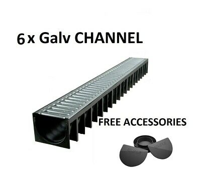 £56.99 • Buy DRAINAGE CHANNEL DRIVEWAY & PATIOS 6mtr GALV GRATING INC FREE ACCESSORIES