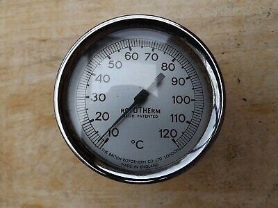 £4.49 • Buy Vintage Rototherm Rotary Dial Thermometer 10-120 Degrees Centigrade Chrome
