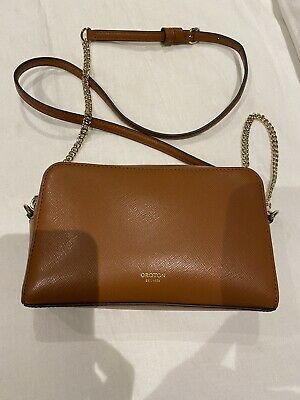 AU100 • Buy Tan Leather Oroton Cross Body Bag Gold Chain Strap Clutch Stunning BNWOT RRP$279