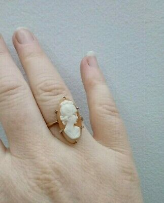 £39.99 • Buy Vintage Elegant 9ct Gold Cameo Ring With Elongated Cameo Size Q C1