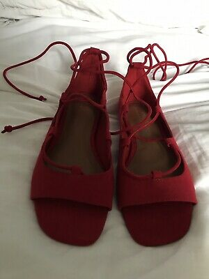 £5 • Buy Next Red Faux Suede Sandals With Ankle Strap Tie 4 Bnwt