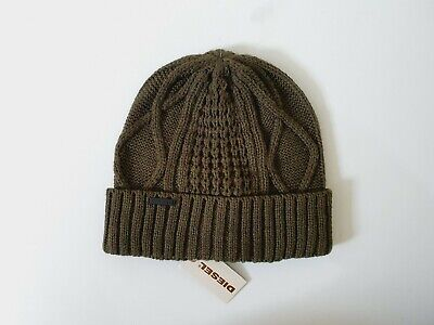 £19.99 • Buy Diesel Cable Knit Olive Green Turn Up Cuff Beanie Hat One Size
