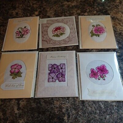 £3 • Buy 6 Small Completed Cross Stitched Birthday Card's