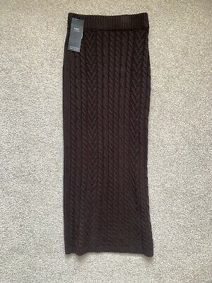 £11.99 • Buy M&S Collection Chocolate Brown Tubular Cable Knit Midi Skirt Size XS. BNWT