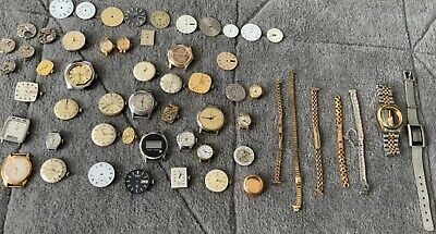 $ CDN7.16 • Buy Large Job Lot Of Vintage Watch Movements, Dials, Straps, Cases, All Makes