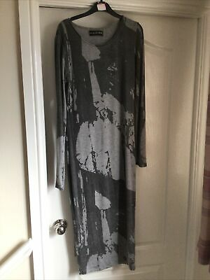 £7 • Buy Religion Grey Patterned Calf Length Dress, Long Sleeves, Stretchy , Size 10/12