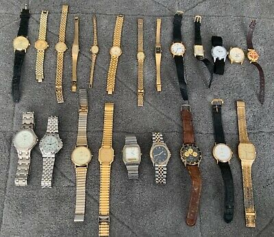 $ CDN9.38 • Buy Job Lot Of 22 Vintage Quartz Wrist Watches & Straps, Need Batteries, Not Tested
