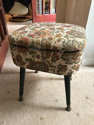 £30 • Buy Vintage Fabric Covered Sewing Stool & Contents. Vintage Tins Filled With Goodies