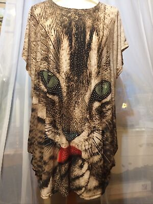 £2.99 • Buy Clothing Boutique Jewelled Cat Face Loose Top Unsized