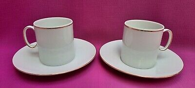 £10.99 • Buy Thomas Germany 2 X White/Gold Thin Gold Band Porcelain Coffee Cups And Saucers