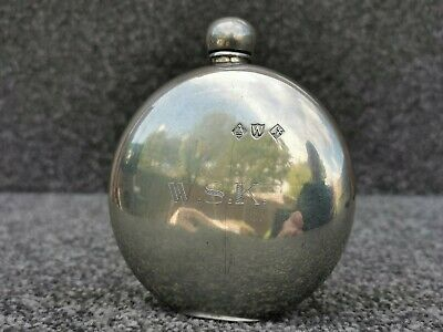 £45.85 • Buy 1950's Vintage A R Wentworth Pewter Oval Hip Flask, Hallmarked Sheffield England