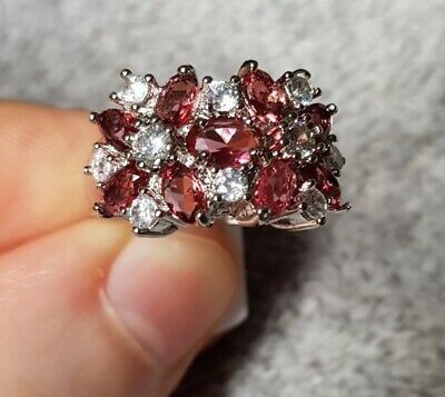 £6.48 • Buy Womans Size N 1/2. Ruby & White Topaz Cluster 925 Silver Ring