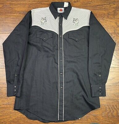 $34.95 • Buy Vintage Mwg Western Pearl Snap Shirt Embroidered M-15.5 Black/gray I2