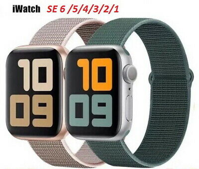 $ CDN4.36 • Buy Hook And Loop Closure Nylon Leather Metal Strap Apple Watch IWatch Band SE 6-1