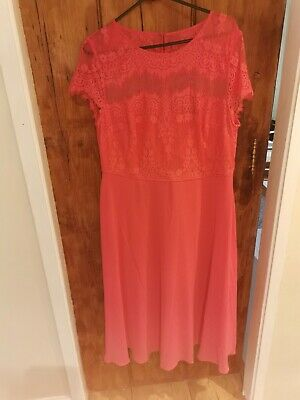 £5 • Buy Monsoon Coral Pink Occasion Dress Size 18