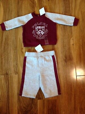 £22 • Buy Polo Ralph Lauren Boy's Grey & Burgundy Fleece Tracksuit For 3 Months BNWT