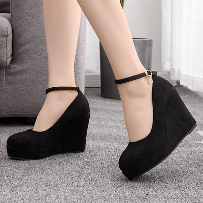 £27.12 • Buy Women Round Toe Pumps Wedge Platform Mary Jane Shoes Ankle Strap High Heels Shoe