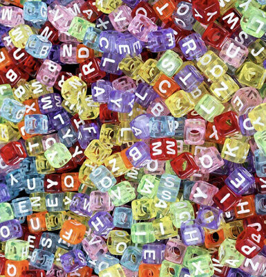 £1.95 • Buy 3 For 2 100 X 6mm TRANSPARENT COLOURED ACRYLIC CUBE LETTER PONY BEADS MIXED A-Z