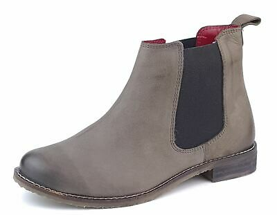 £31.89 • Buy Ladies Leather Chelsea Ankle Boots Grey Soft Nubuk Pull On 4 5 6 7 8 Aintree