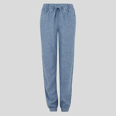 £12.95 • Buy Chambray Linen Rich Tapered Trousers Pants Joggers, Ex M&S