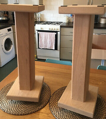 £149.99 • Buy Solid Oak Wood Speaker Stands With Floor Spike In Great Condition Stunning