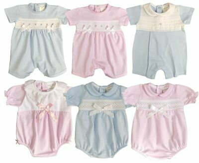 £12.99 • Buy Baby Boy Girl ROMPER SUIT Smocked BOWS Spanish Style