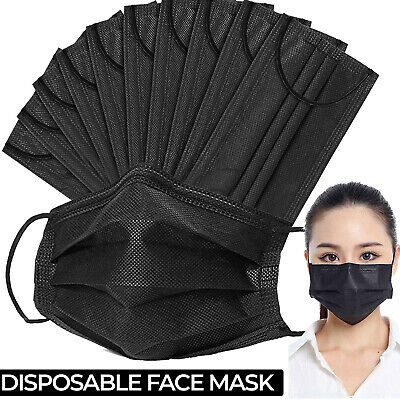 $10.44 • Buy 100 PCS Disposable Face Mask Non Medical Surgical 3 Ply Ear Loop Black Masks