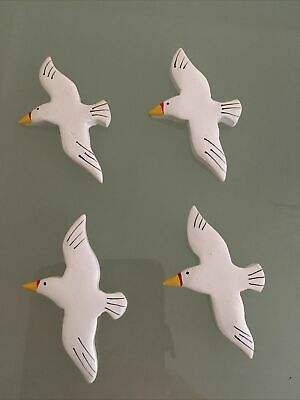 £7.99 • Buy 4 Painted Wooden Seagulls Birds Flying Seaside Crafts Home Decor Bathroom Gift