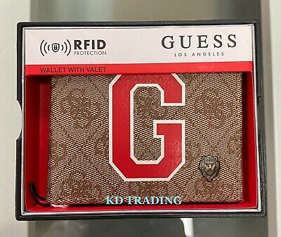 $31.95 • Buy GUESS Men's Genuine Leather PREMIUM BILLFOLD Wallet W/ Valet RFID Protection TAN