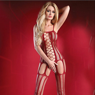 £11.99 • Buy Ladies Sexy Net Suspender Bodystocking Catsuit Crotchless Lace Teddy Lingerie C