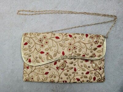 £5 • Buy Indian Small Gold Handbag Clutch Bag Gold Embroidery