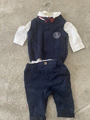 £8 • Buy Next Baby Boy Occasion 3 Piece Shirt Bow Tie Jumper Size Up To 1 Month