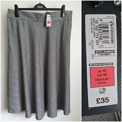£10 • Buy M&S Grey Checked A-Line Skirt With Pockets Size 18 NWT